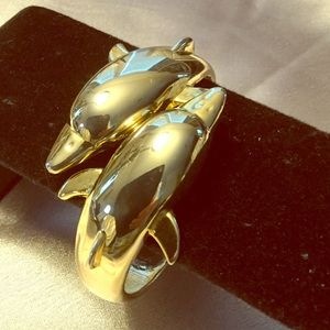 Vintage Double Dolphin Hinged Cuff Bracelet